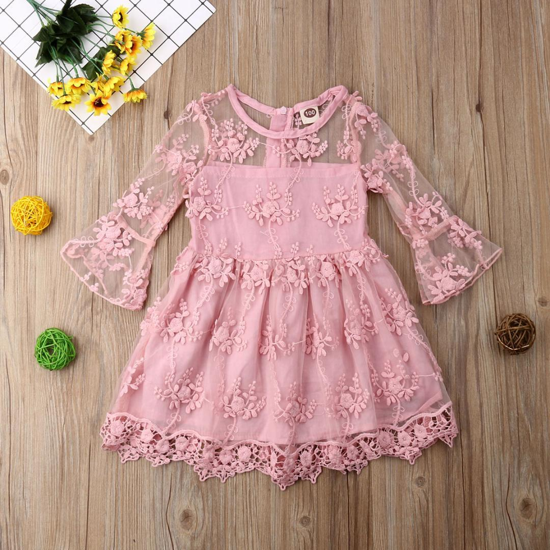 c8a5aee6c 2019 6M 5T Toddler Kids Baby Girls Princess Lace Dress Clothing Child Gir  Cute Long Sleeve Party Pink Mesh From Ys_shop, $14.55 | DHgate.Com