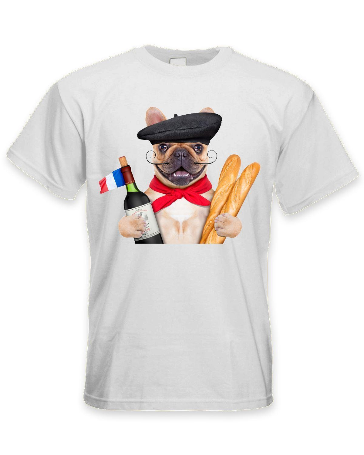 French Bulldog With Wine and Baguette Men's T-Shirt - Funny Pet Bull Dog Style Round Style tshirt