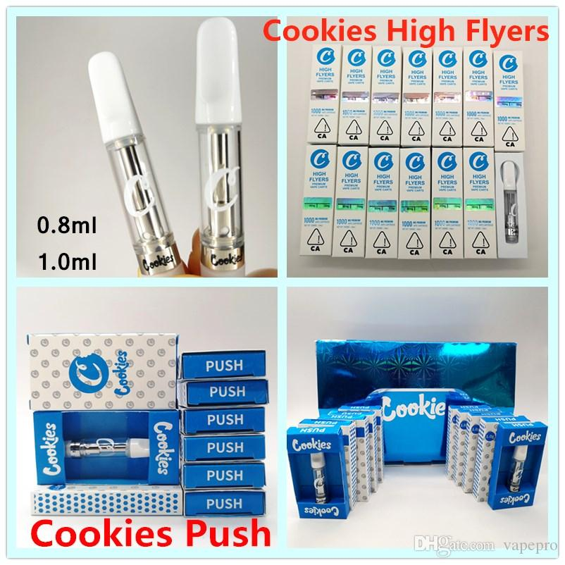 Cookies Carts Vape Patronen High Flyers Cookies Push-Cartridge 0,8 ml 1,0 ml Keramik Coil Vape Carts 2mm leeren Tank Vape Pens 510 Atomizer