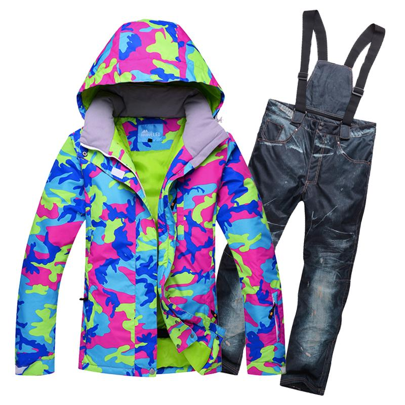 New Outdoor Woman Skiing Suit Sets Snowboarding Clothes Waterproof ... faf17c265