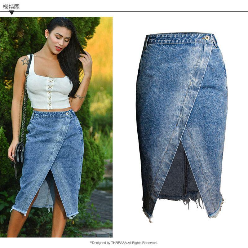 2dd17e8ea9 Compre Falda De Mujer Frente Dividir Blue Jeans Estiramiento De ...