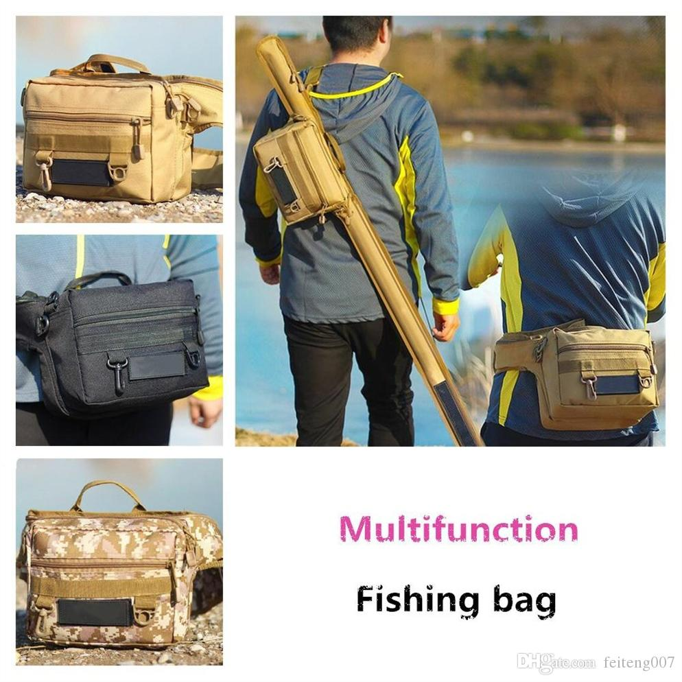 ecab5f80fb8d Mounchain Multi-functional Fishing Bag Fanny Pack Fishing Gear Bag Raft Rod  600D nylon Sea fishing Rod #777260