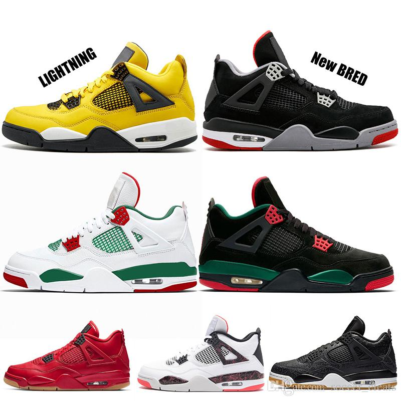 1f454fd910c4 2019 2019 Kaws Bred Pale Citron Tattoo 4 IV 4s Mens Basketball Shoes  Pizzeria Singles Day Royalty Man Trainers Chaussures Sports Sneakers From  Soccer cleats ...