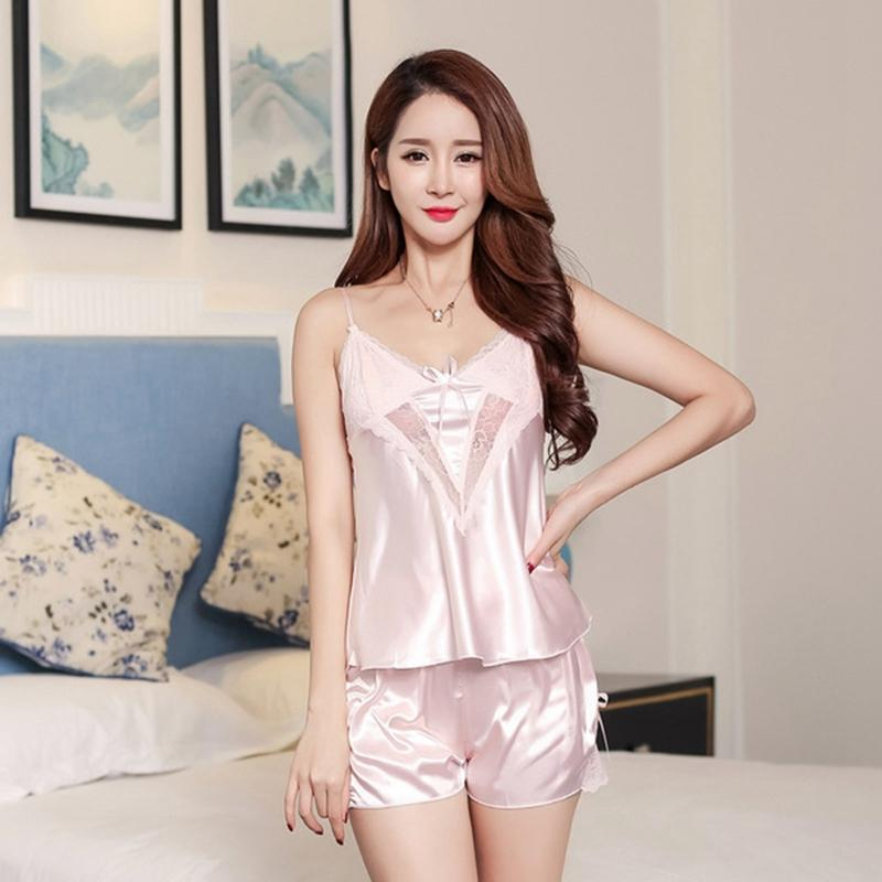 13dd97a5645 2019 Pajama Set Silk Women Pajamas Nightgowns Sexy Ladies Women Nighties  Pyjama Femme Ice Silk Pj Set Pajama Shorts From Yujinnice