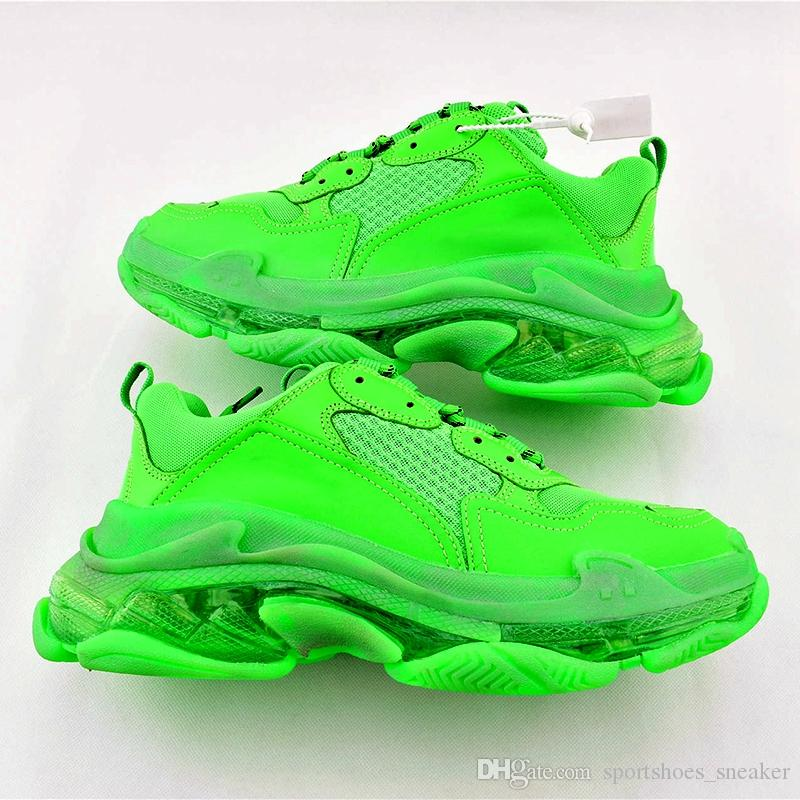 2019 Fashion Paris Triple S Sneakers Green Crystal Cushion Bottom Men Women Triple-S 3.0 Shoes Kanye 17FW Dad Designer Trainers Size 36-45