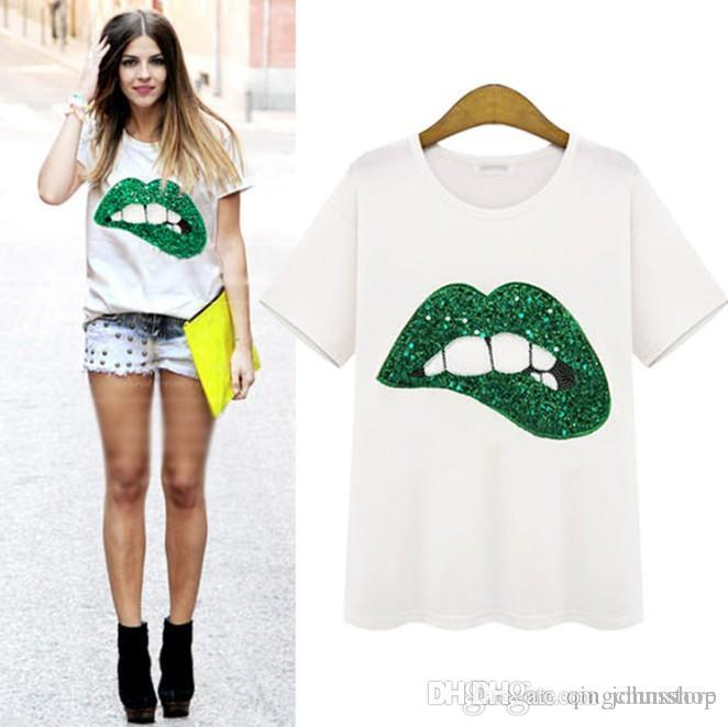 New Summer Fashion Eye Lashes Red Lips Magliette allentate Stampa T-Shirt donna / bambina T-shirt manica corta in cotone Colore Bianco