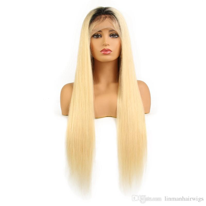 b2078637f LIN MAN 150% Density Full Lace Human Hair Wigs 1B 613 Blonde Lace Wig Remy  Hair With Baby Hair Pre Plucked Ombre Sensationnel Bump Human Hair Wig  Short ...