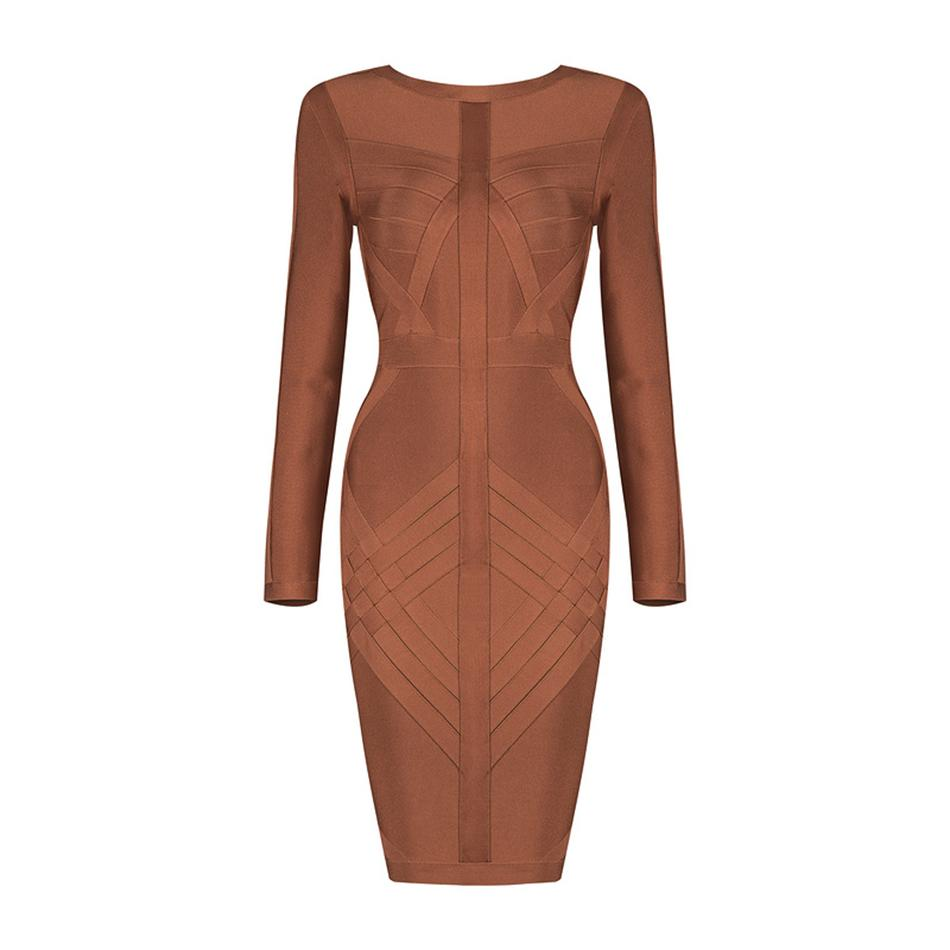 Long Sleeve Mini Women Dress Sexy Club Evening Party Clothing Bodycon Above Knee O Neck Celebrity Bandage Dress