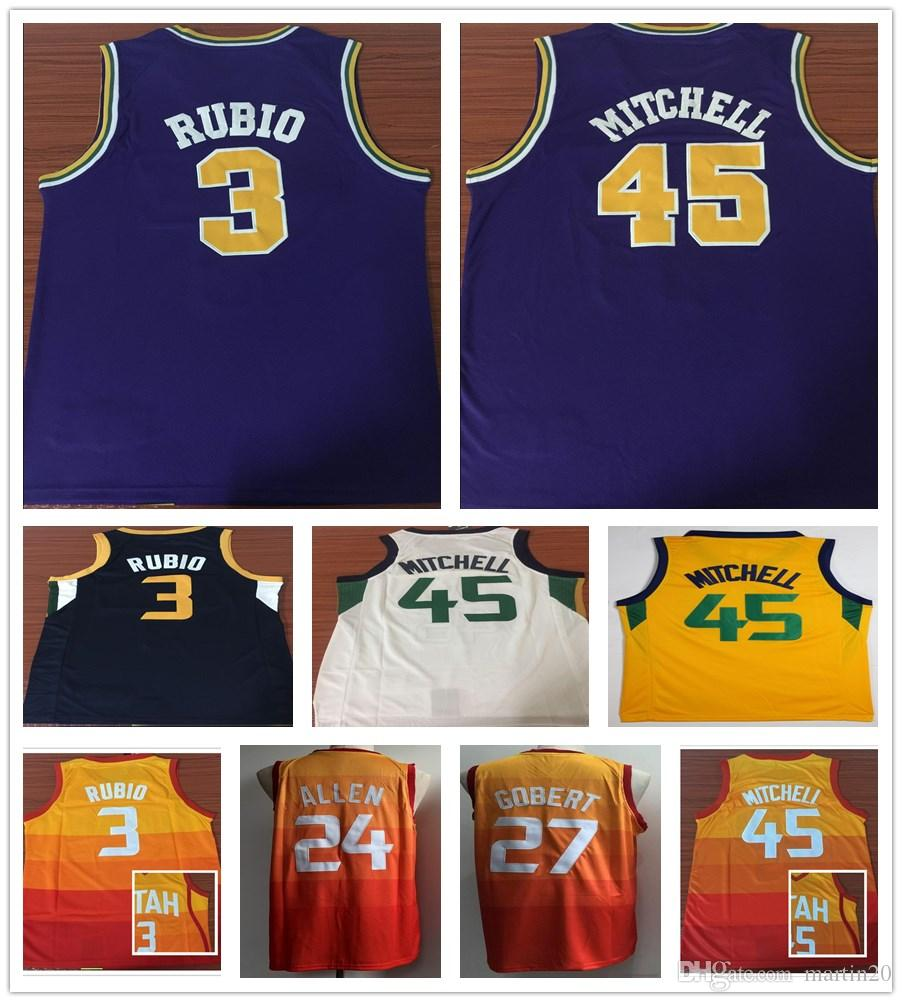 New City Edition 45 Donovan Mitchell Jerseys Purple Yellow Orange ... 875a3cb55