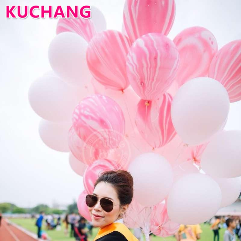 Large Queen Diamond Happy Birthday Pink Crown Foil Balloons Black Marble Latex Ball Princess Birthday Party Decorations