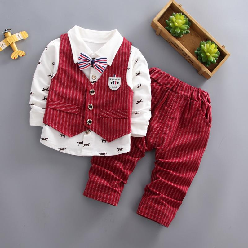 a406c60d862ad good quality Baby Boys Party Clothing Set Kids Boys Spring Autumn Fashion  Gentleman Style Clothes Suit Children Long-sleeved Outfits