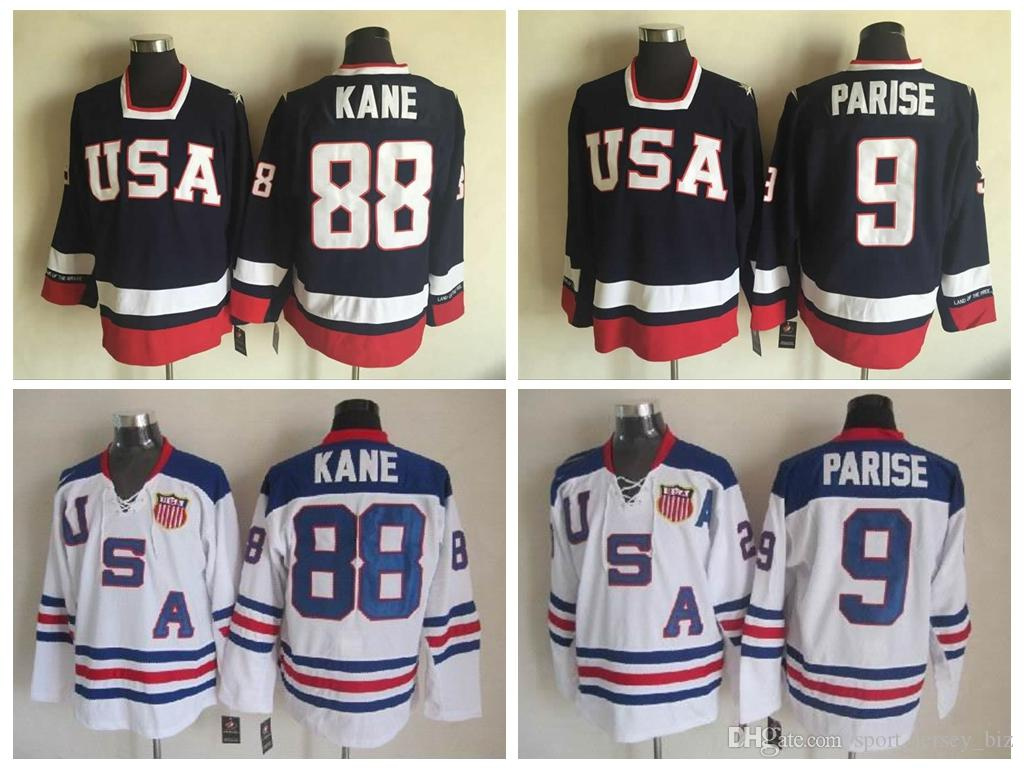 low priced 77036 c84f3 2010 Olympic USA Team Hockey Jerseys #9 Zach Parise Jersey #88 Patrick Kane  Jersey High Quality Blue White Stitched Shirts