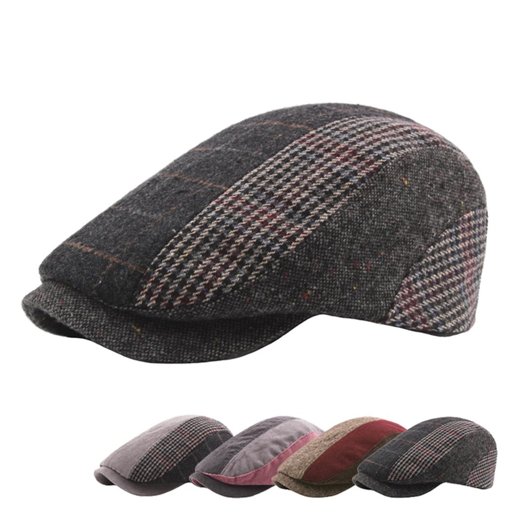 ee0c541ce35b8 Men Winter Classic Plaid Beret Cap Vintage Striped Gatsby Hat Men ...