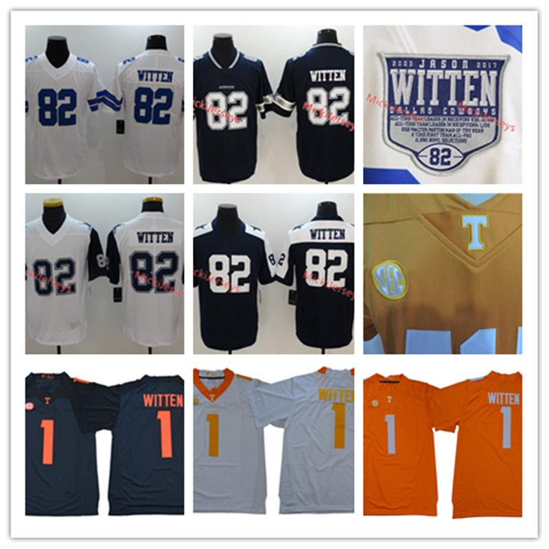 new product 10c00 a8ec7 Mens #1 Jason Witten NCAA Tennessee Volunteers Jersey Stitched #82 Jason  Witten Legends Retirement Patch Jersey S-3XL