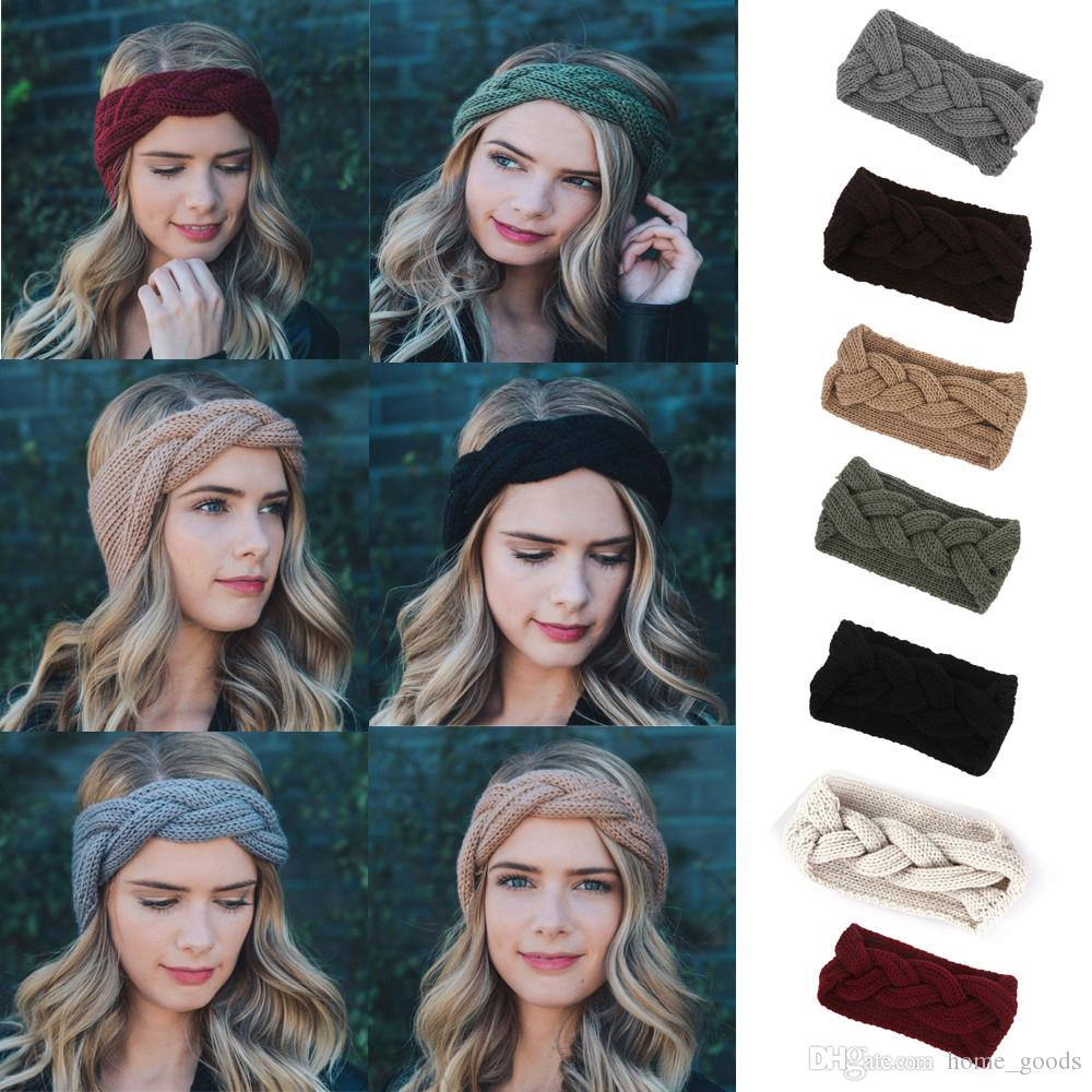 Winter Women Ear Warmer Knitted Headband Solid Braid Headwrap Wide Stretch  Turban Lady Crochet Big Bow Autumn Hairband Hair Accessories Solid Black  Cone ... 43760c74266
