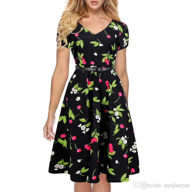 buy online 642d1 04c77 Vestiti americani del pattino di grandi dimensioni delle stampe floreali  delle ragazze di grandi dimensioni degli anni 1950 all ingrosso Vestiti da  ...