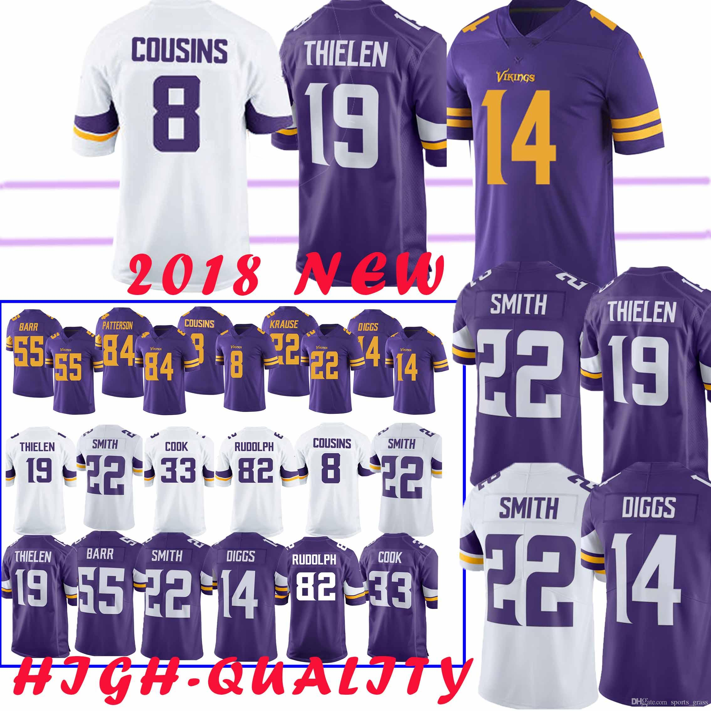 buy popular 0d319 ba2fb top 14 Stefon Diggs Minnesota Jersey vikings 8 Kirk Cousin 19 Adam Thielen  22 Harrison Smith 82 Kyle Rudolph 99 DANIELLE HUNTER Jerseys