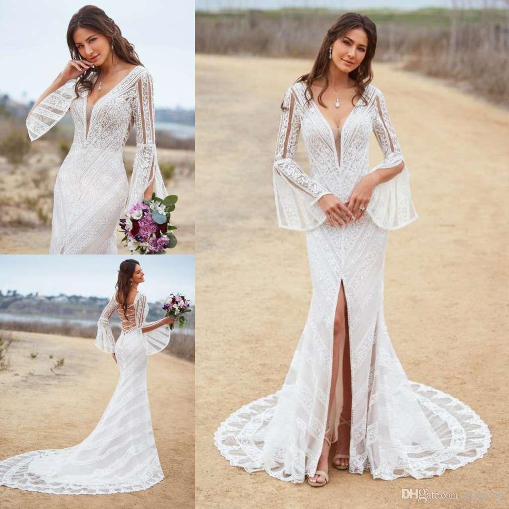 6c4c71abd5670 Kitty Chen Mermaid Beach Wedding Dresses V Neck Lace Long Sleeve Trumpet  Split Sweep Train Bridal Gowns Plus Size Robe De Mariée Wedding Style  Dresses White ...