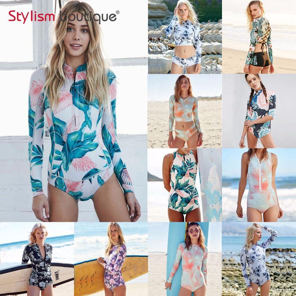 2019 Fashion Women Girls Floral Long Sleeve Surf Rash Guard One-piece Swimwear Monokini Beach Holiday Beachwear Women's Clothing