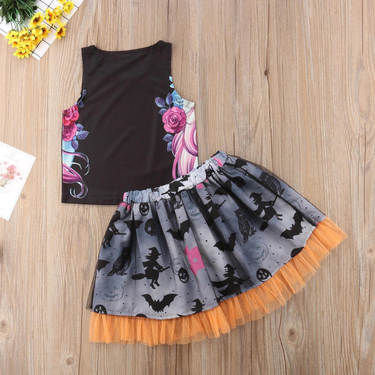 2019 Marca de Moda de Nova miúdo recém-nascido Bebés Meninas Halloween Verão Define Graffiti Vest Tops Tulle saia plissada 1-6T Outfits