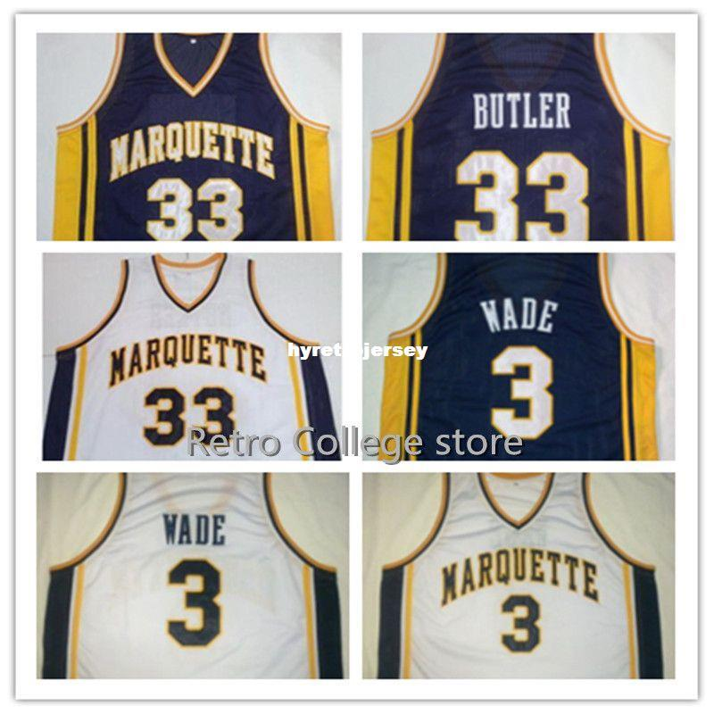 brand new 35888 3409e #3 DWYANE WADE Marquette Navy Blue White Basketball Jersey Embroidery  Stitched Personalized #33 Jimmy Butler jersey vest Jerseys