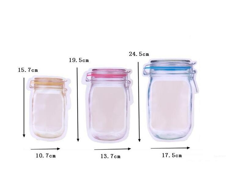 Resuable Food Storage Bags Stand Up Mason Jar Shaped Zipper Airtight Sealing Bags Food Storage Container For Snacks Cookie Candy Bag