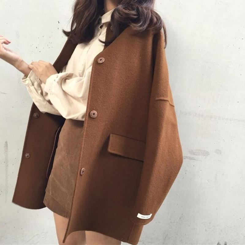 34c53f13b1a5 Autumn Winter Women Casual Coats Medium-Long Wool Blends Jackets ...