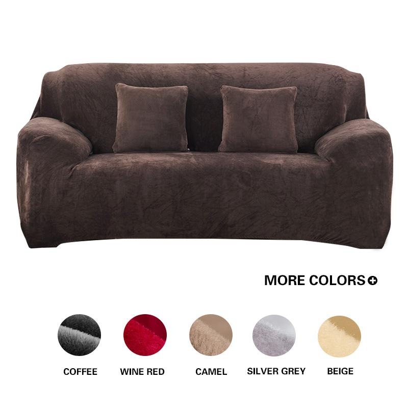 Grey/Solid Color Plush Sofa Cover Elastic Sofa Slipcover Stretch Couch  Cover Corner Sectional L-shape for Living Room