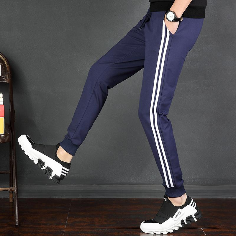 2019 New Men's Leisure Pants Individuality Korean Students'Nine-minute Pants, Slim Stripe Sports Pants, Men's Shoe Pants
