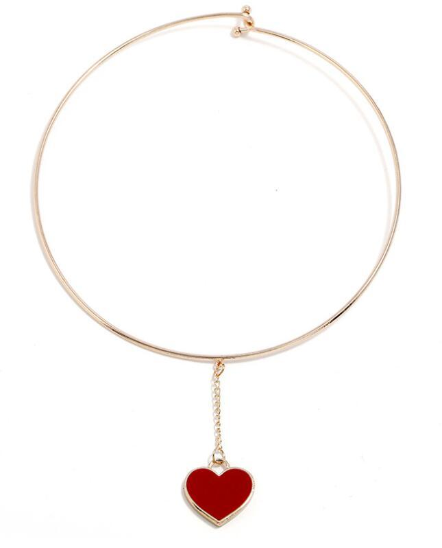 Alloy Collar Necklace Female Love Binding Chainbone Heart Heart Choker Creative Accessories red black For Women Jewelry