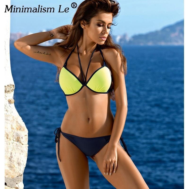 f74dba9062f3 Minimalismo Le 2018 Mujeres Sexy Bikini Set Más Tamaño Traje de baño Push  Up Traje de baño Sólido Bikinis Dot Vendaje Ropa de playa Biquini XXL