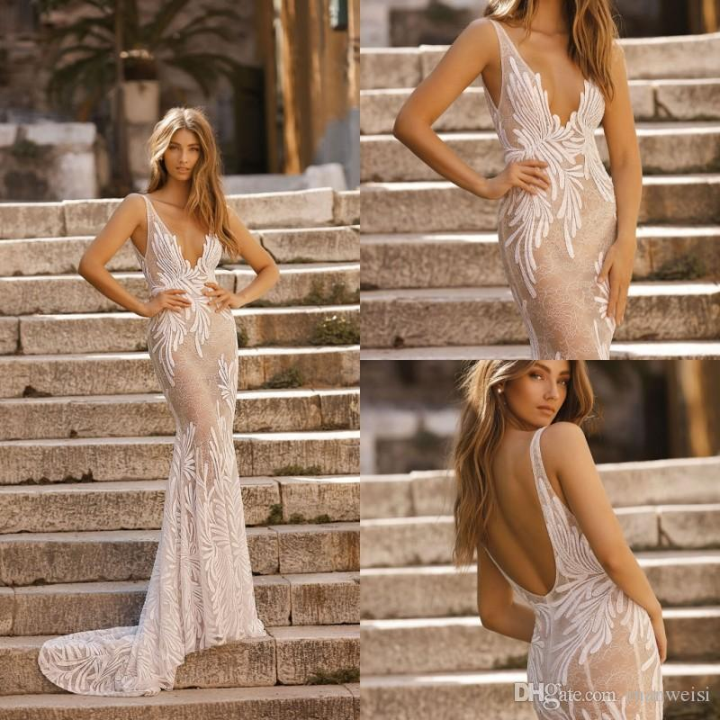 Sexy Berta Mermaid 2019 Beach Abiti da sposa in pizzo Appliqued Backless con scollo a V Sweep treno Abito da sposa Abiti da sposa Boho Vestidos