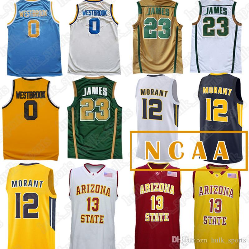 half off c4138 eef73 NCAA jerseys 23 LeBron James jersey 0 Westbrook 12 Ja Morant 13 James  Harden jerseys men 2019 basketball