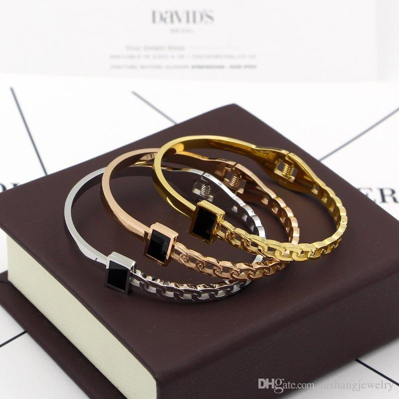 PB68 fashion imitation chain style black block Spring opening gold plate bangle for gift free shipping