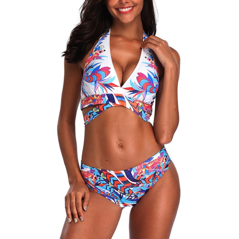 50120e72cb6e 2019 Nuevo traje de baño Bikini femenino Traje de color Push-ups  Sujetadores Correas Sujetadores Trajes de baño Cuello de baño Cuello de  gran ...