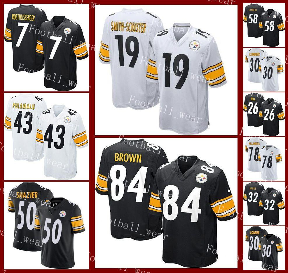 reputable site 7c989 532c8 Steelers Jersey Pittsburgh JuJu Smith-Schuster 30 James Conner 90 T.J. Watt  Roethlisberger Devin Bush Ryan Shazier Custom Football Jerseys