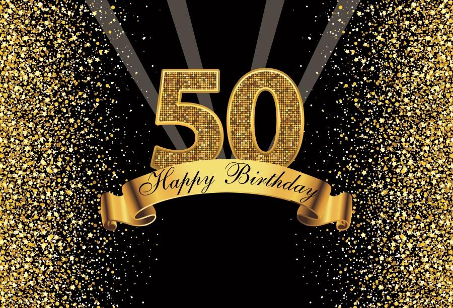 2019 Happy Gold 50th Birthday Party Dots Sequins Banner Poster Photography Backdrops Photo Backgrounds Photocall Studio From Knite08