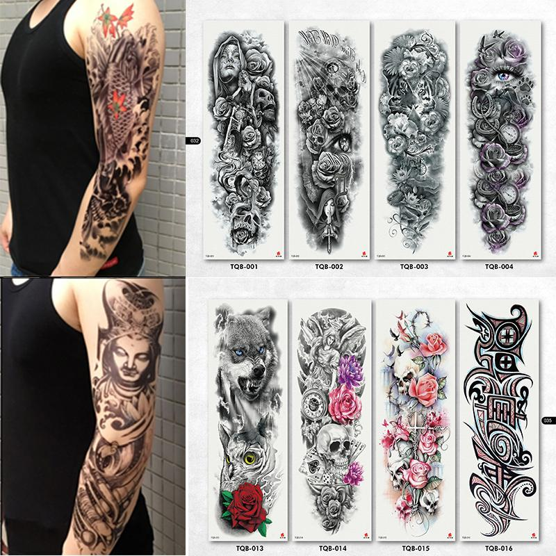 NEW 4 Sheets Large Temporary Tattoos Sticker Men Arm Sleeves Lelft ...
