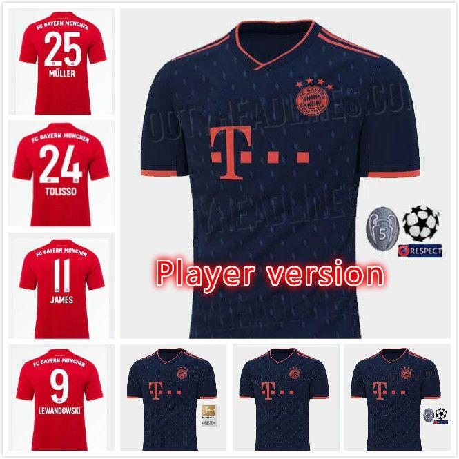 on sale 37197 080c2 Player Version 19 20 Bayern Munich JAMES Soccer jersey 2019 2020  LEWANDOWSKI MULLER jersey HUMMELS Football shirt Men uniforms