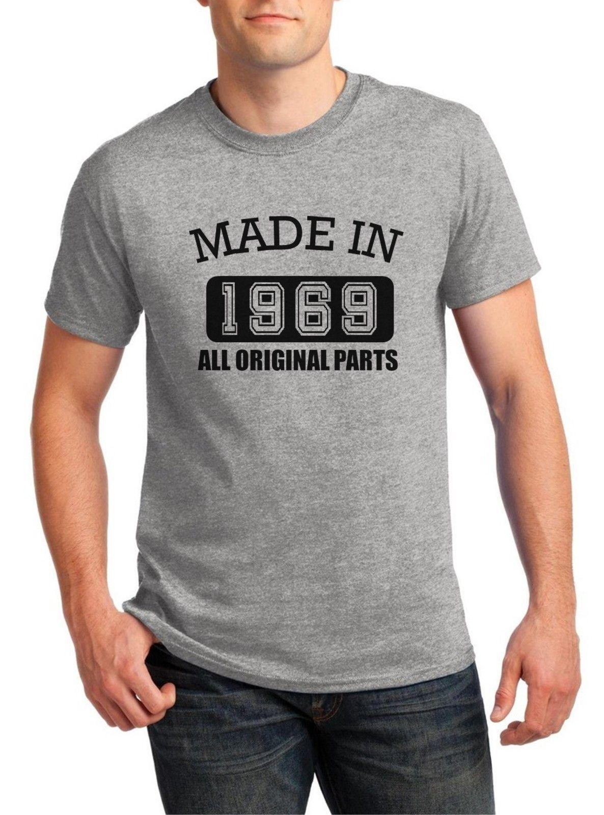 Made in 1969 All Original Parts T Shirt 50th Birthday Party T-Shirt Bday Gift 2018 Summer 100% Cotton Hipster O-Neck Casual Short Sleeve