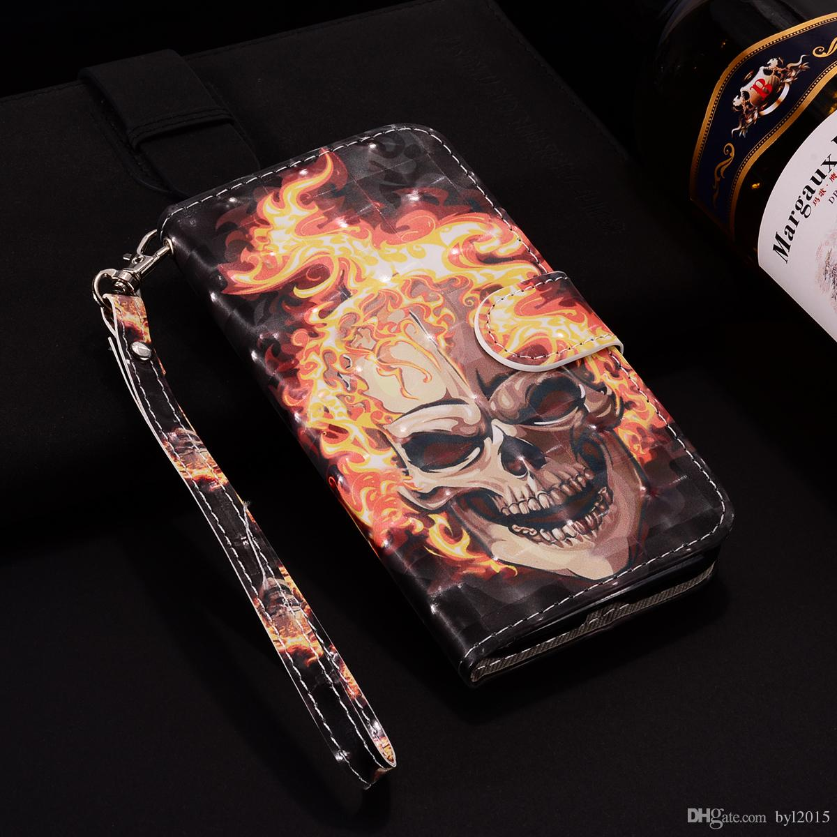 Leather Flip cover phone case for Iphone 6/6s/7/8/7plus/x/xs/xr/xs max Painted 3D Flame skull with Credit card slot wallet shockproof cases