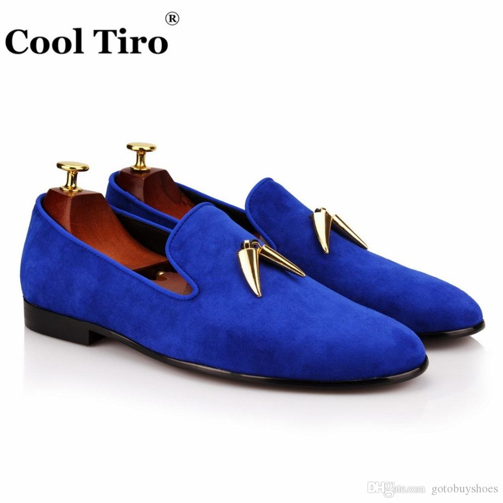 3cefe25a Compre COOL TIRO Hombres Zapatos De Gamuza Azul Resbalón En La Moda Hombre  Mocasines Formales Zapatos Pisos De Metal Casual Para Hombre Mocasín Homme  ...
