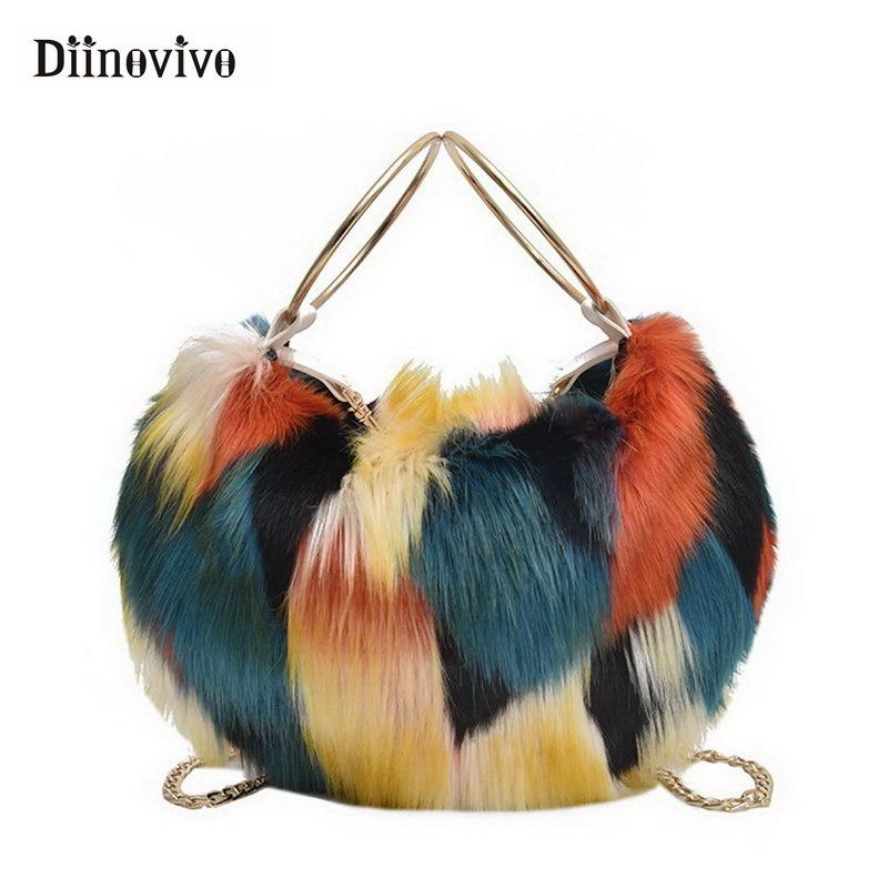 DIINOVIVO New Colorful Faux Fur Female Handbags Plush Shoulder Bag Leisure  Crossbody Bags For Women Chain Soft Bag Tote WHDV0852 D19011204 Beach Bags  Duffle ... ff8f8498f7b06