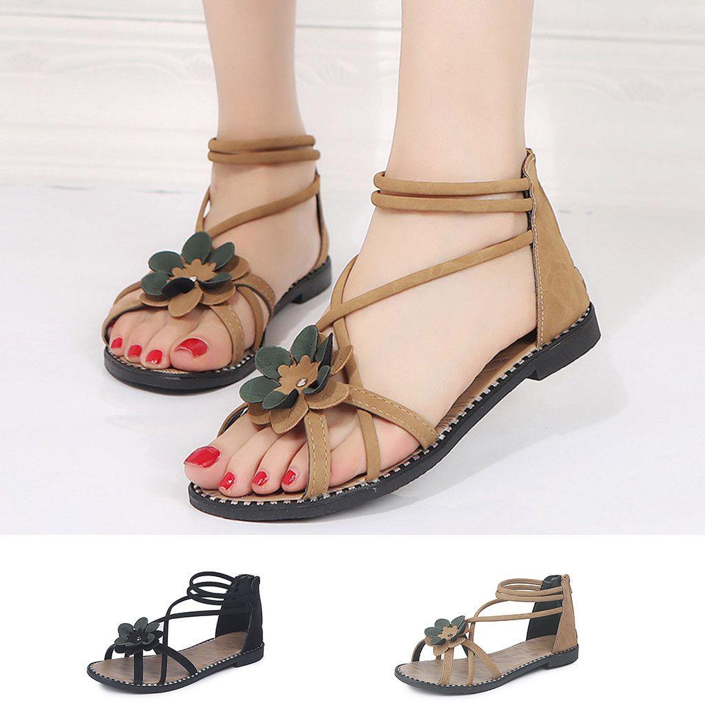 Individuales89 Causal Mujer Grandes Para Estilo De Bohemio Verano Zapatos Tallas Sandalias Moda Floral gIbyf76Yv