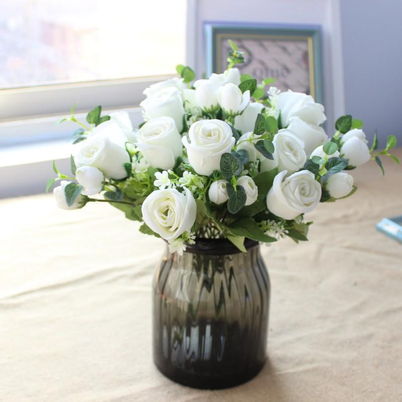 Satın Al Güzel Gül Okaliptüs Buket Yapay Ipek çiçekler Küçük Buket