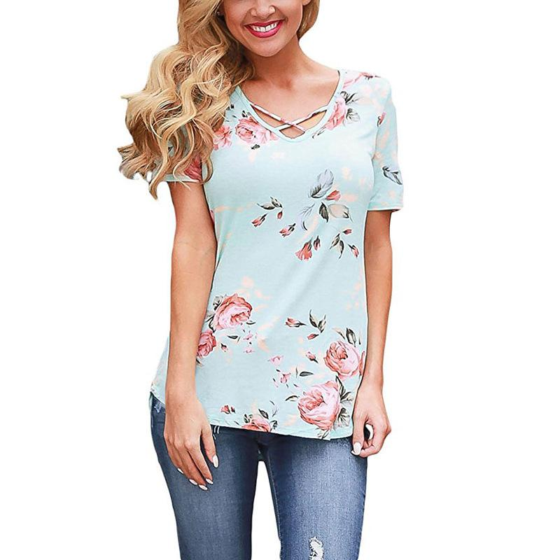 7c745b0a7604 Summer 2019 Women Sexy T Shirts Short Sleeve V Neck Fashion Print Irregular  Shirt Package Hip Slim Shirt Plus Size Women Tops On T Shirts It Tee Shirts  From ...