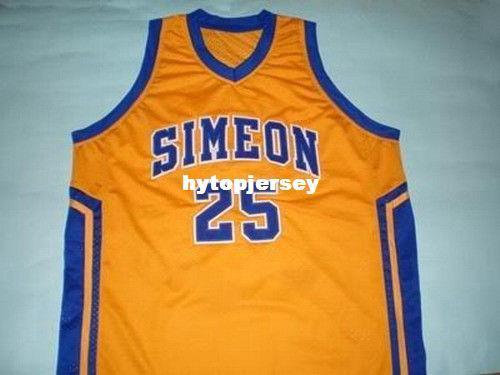 86bc09b61a1f 2019 Cheap Mens DERRICK ROSE SIMEON HIGH SCHOOL JERSEY YELLOW NEW XS 5XL  Retro Basketball Jerseys NCAA College From Hytopjersey