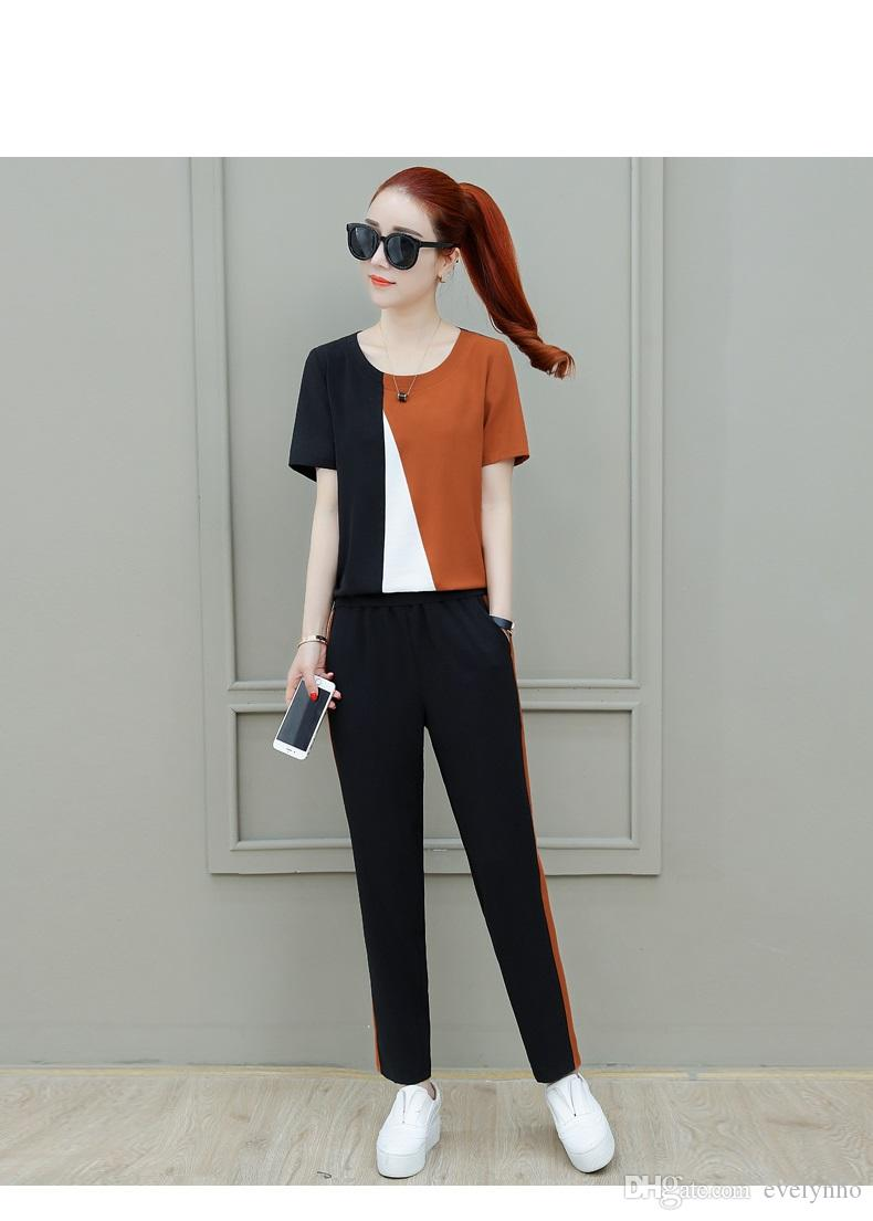 98cf8284f5ad 2018 New Summer Sports Two Piece Pants for Women ,Korean Casual Wear ,Short- sleeved Long Pants Loose Fashion Clothes