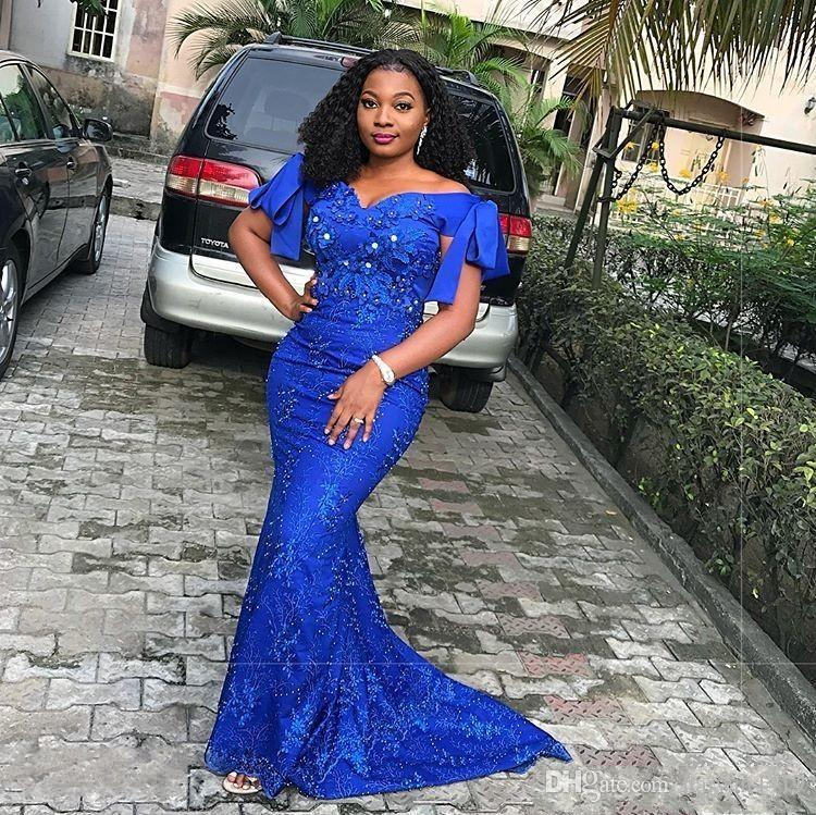 2020 Sexy South African Royal Blue Mermaid Evening Dresses Off Shoulder Lace Appliques Beaded Sweep Train Plus Size Prom Evening Gowns