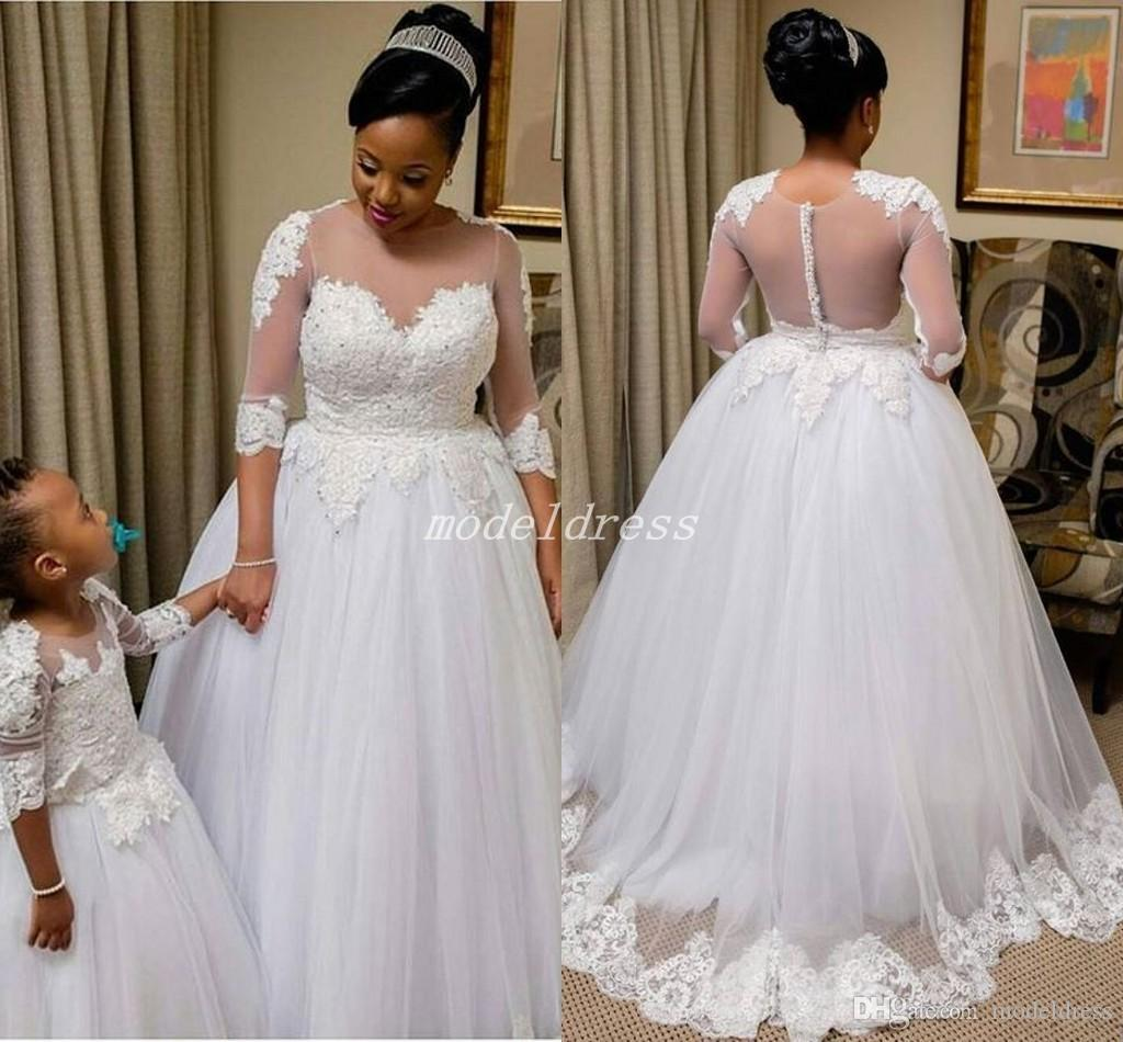 See Through White Ball Gown Wedding Dresses Sheer Jewel Neck Half Sleeve Sweep Train Appliques Garden Chapel Country Bridal Gowns Plus Size Flower: See Through Country Wedding Dresses At Reisefeber.org